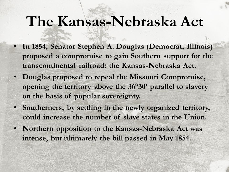 the kansas nebraska act history essay Border ruffian rh wilson fought against the free soilers in kansas and eventually joined the confederate army the passage of the kansas-nebraska act would lead to a civil war between pro-slavery and anti-slavery settlers in kansas history of kansas — border ruffians.