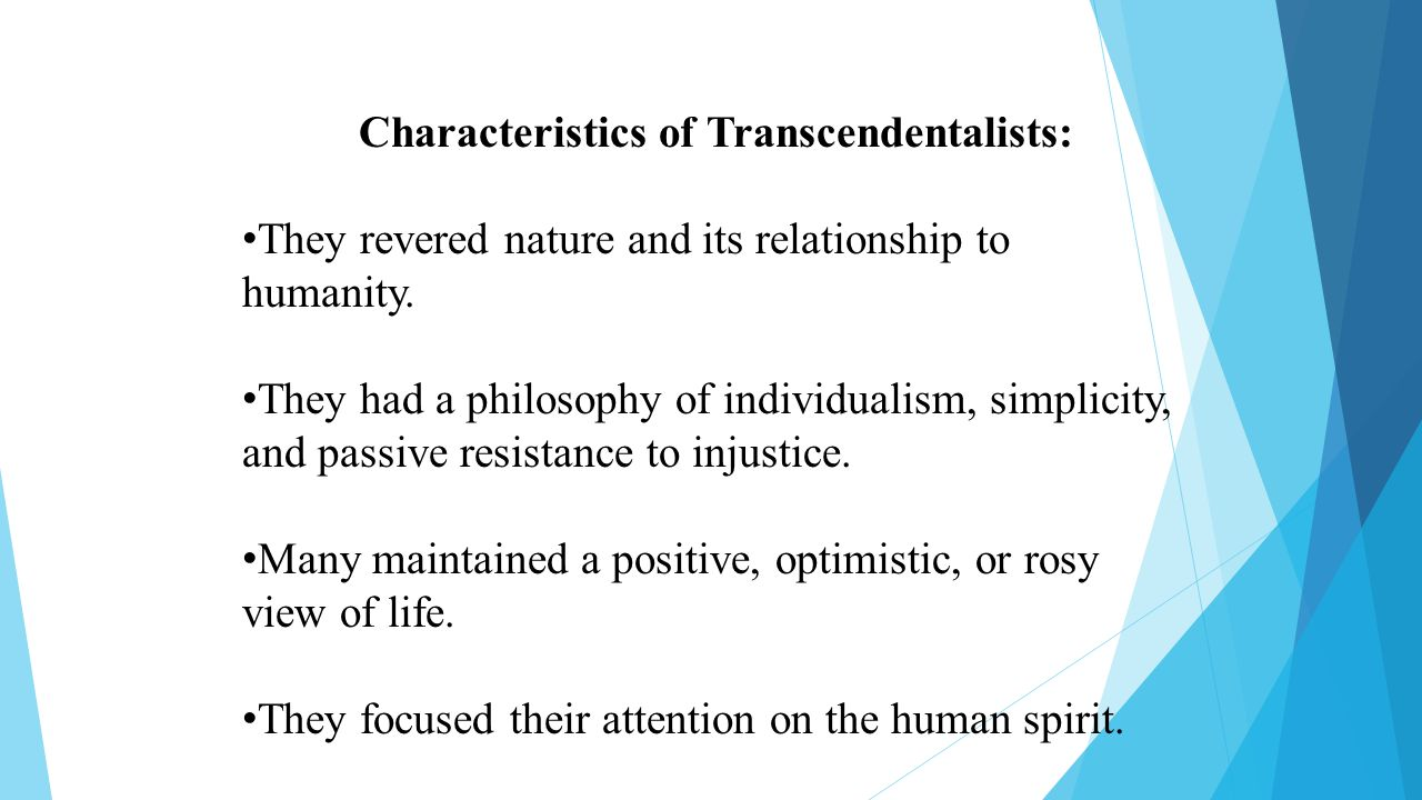 the features of transcendentalism and its representatives Every chapter features  and why are the gods of so many different people so similar  a coalition of moral entrepreneurs that included representatives.