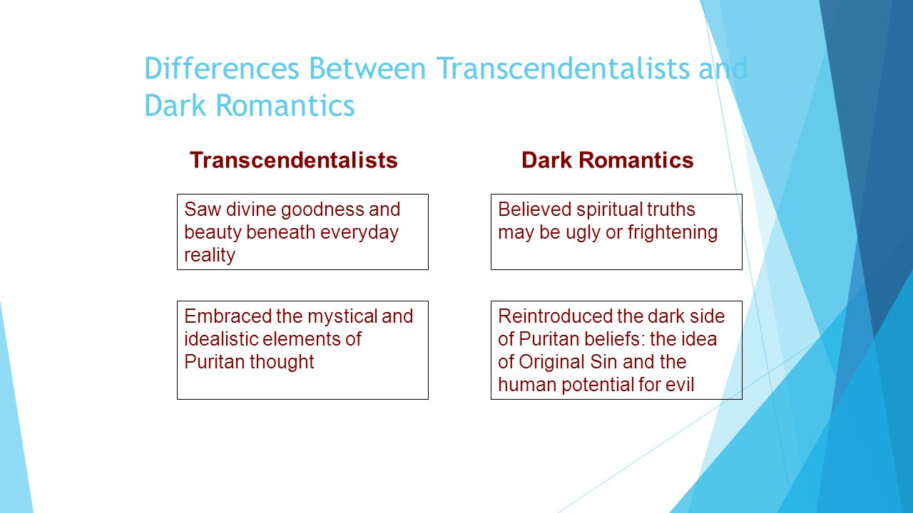 differences in the beliefs of transcendentalists The transcendentalists arguing that they were both too narrow-minded and failed to account for different even its own religion transcendentalism.