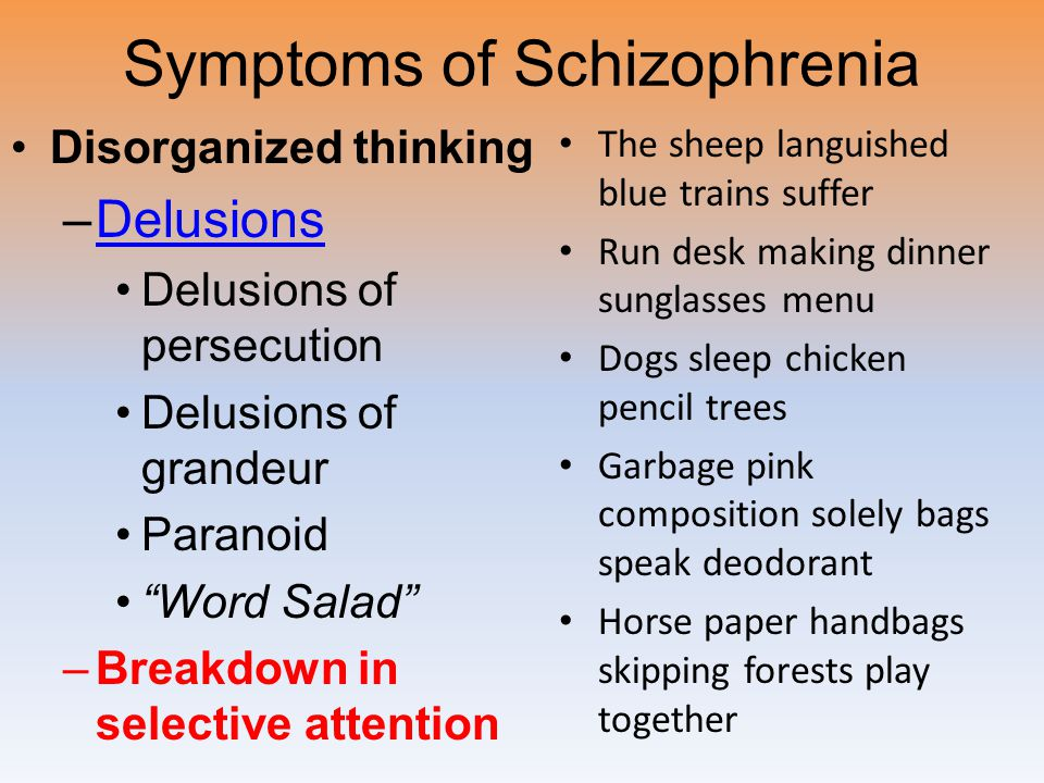 symptoms of schizophrenia essay Start studying possible schizophrenia 1 essay learn vocabulary, terms, and more with flashcards, games, and other study tools.