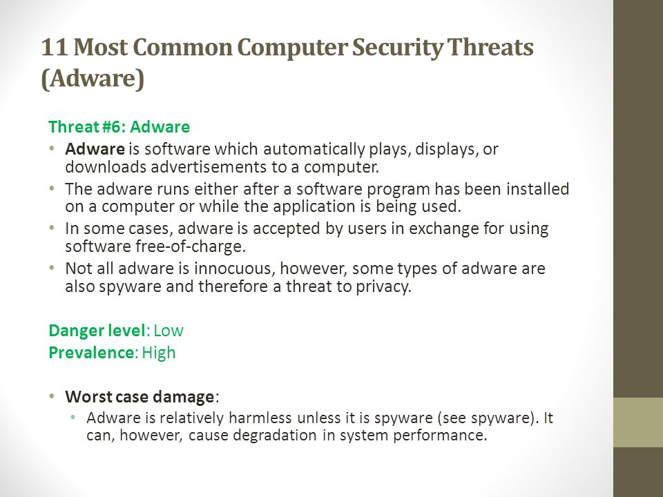 11 Most Common Computer Security Threats (Adware)