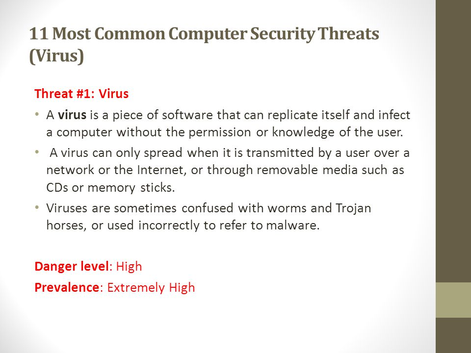 11 Most Common Computer Security Threats (Virus)