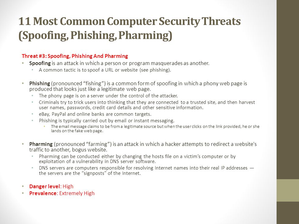 11 Most Common Computer Security Threats (Spoofing, Phishing, Pharming)