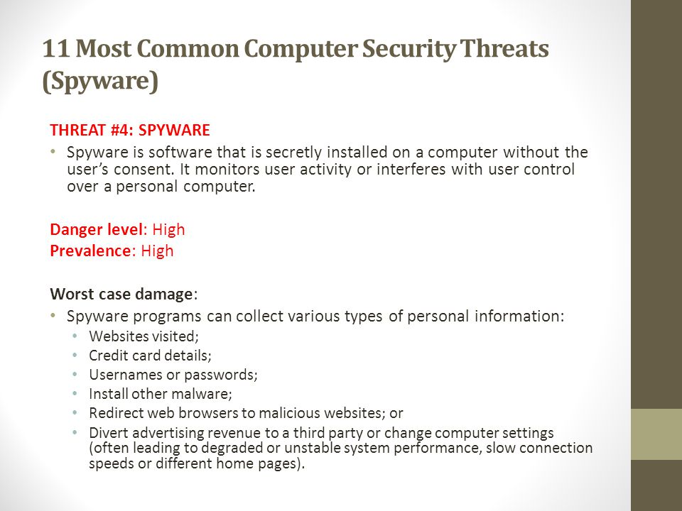 11 Most Common Computer Security Threats (Spyware)