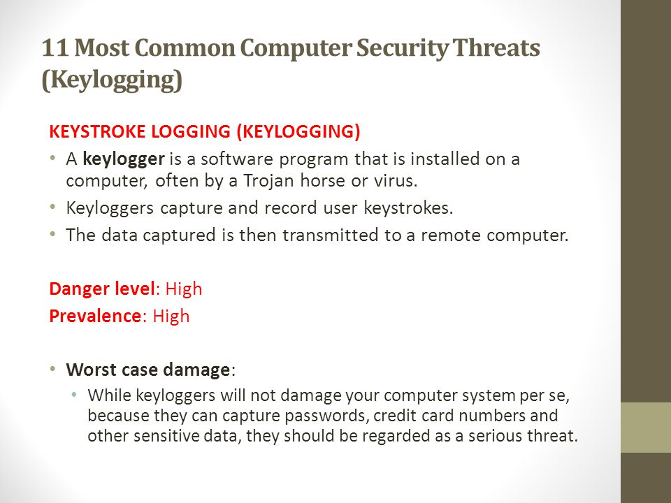 11 Most Common Computer Security Threats (Keylogging)