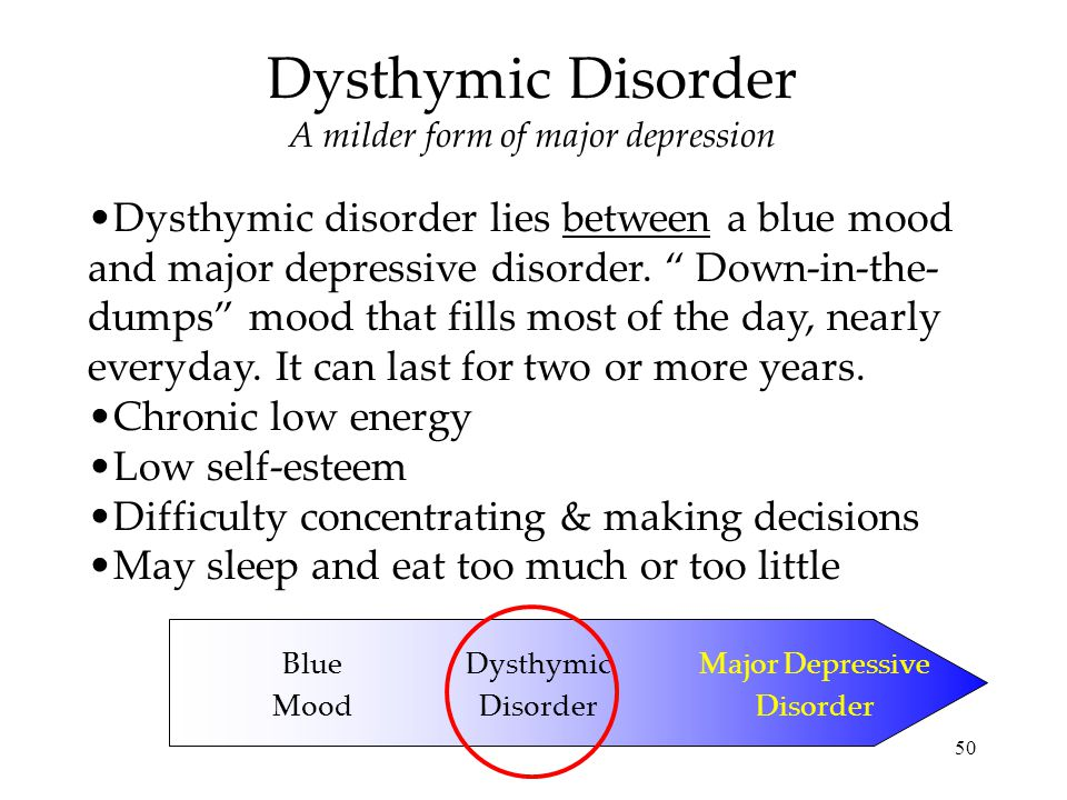 psychological disorder analysis dysthymic disorder Dysthymia, also known as dysthymic disorder, is a mild, but chronic type of depression which is very treatable.