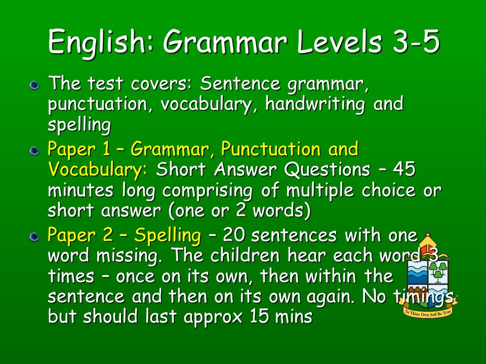 English: Grammar Levels 3-5