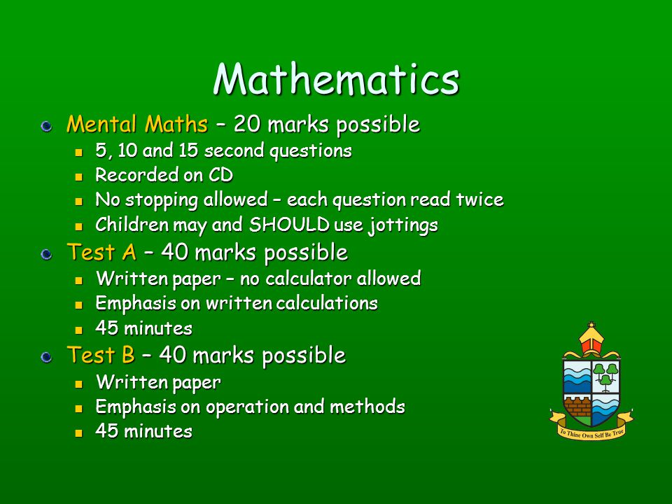 Mathematics Mental Maths – 20 marks possible