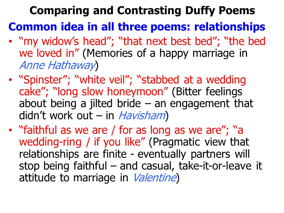 poem comparisson Comparison: sample literary essay, two poems identify & introduce each piece and conclude with the thesis--the point you are making about the two pieces the aesthetic movement, as exemplified by the indian to his love, by w b yeats, seems lifeless and insipid when compared to his the hosting of the sidhe.