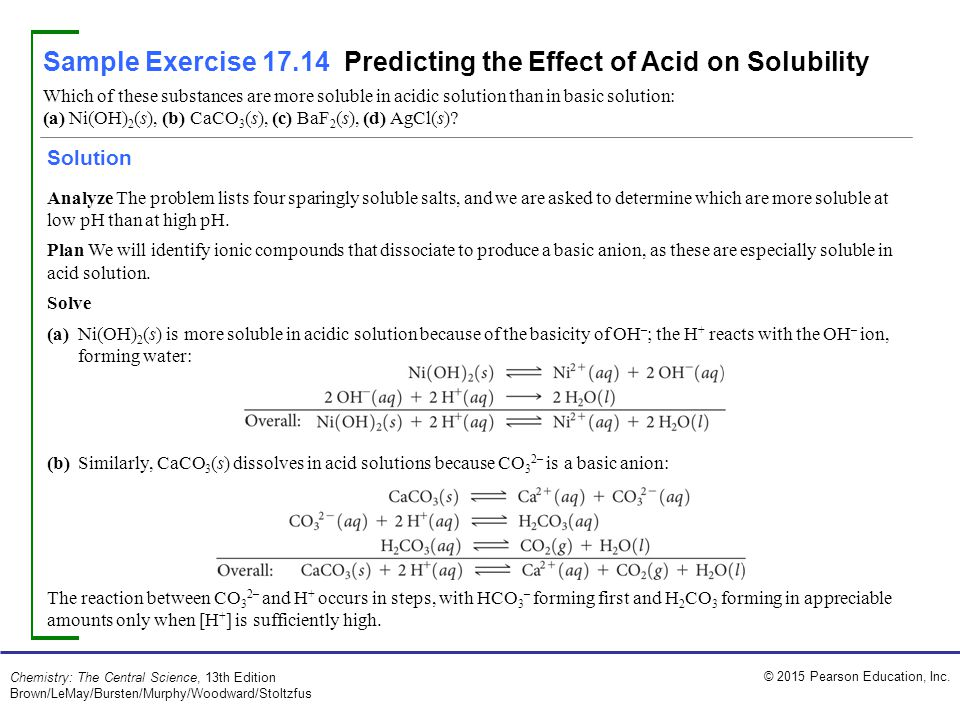 Sample Exercise 171 Calculating The Ph When A Common Ion Is