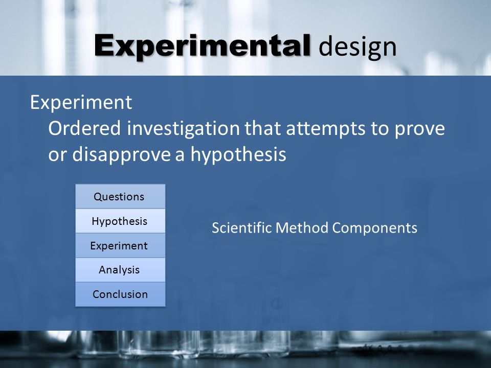 Experimental design Experiment Ordered investigation that attempts to prove or disapprove a hypothesis