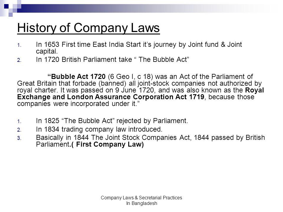 history of company law