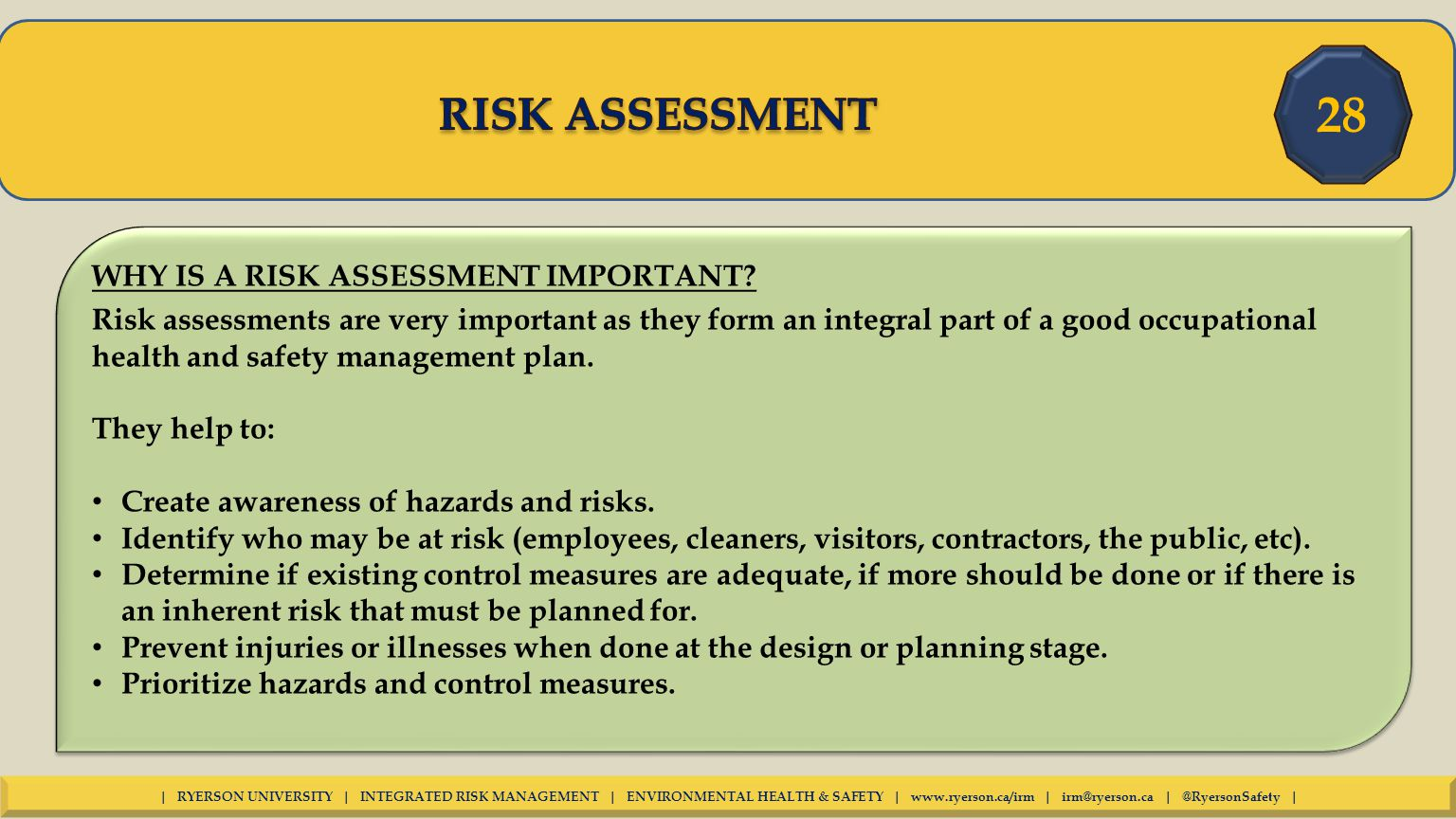 why are risk assessments important The month of september brings cooler weather, football and of course, health risk assessments at faith technologies, incwhat is a health risk assessment (hra) it's a health screen, performed at the work site that provides employees with a report of the health screen results including information about health risks, and is important for many reasons.