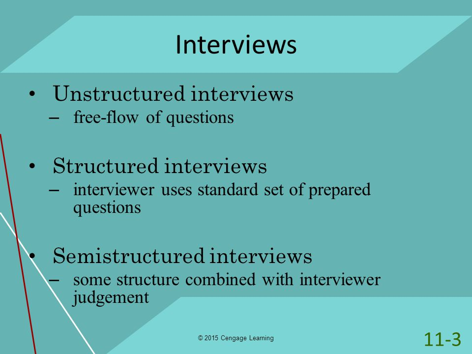 structured interviews and situational interviews Learn about the pros and cons of unstructured interviews, behavioral structured  interviews, situational structured interviews and the.