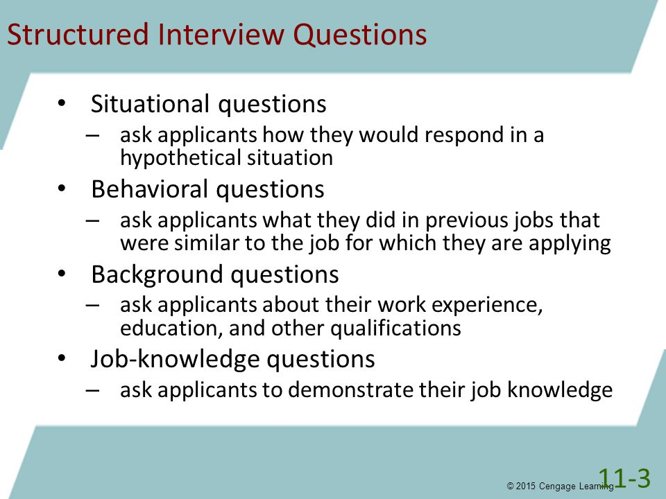 structured behavioral interviews Structured interview questions are pre-decided questions employers use to get specifc information and facts from a potential employee compared to unstructured or open-ended interview questions, structured questions can enhance the quality, validity and honesty of answers given by a job seeker.