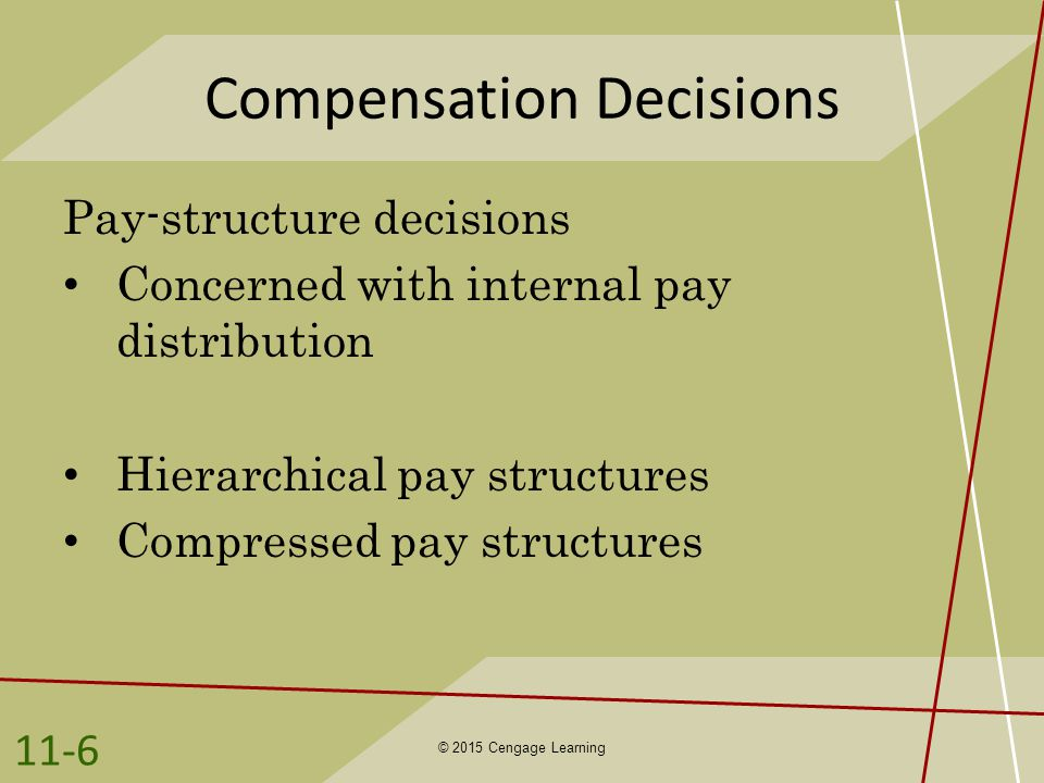compensation decisions Pay can either be an asset or a liability to a company stated another way, it can either drive growth or hinder it-- fuel performance or diminish it.