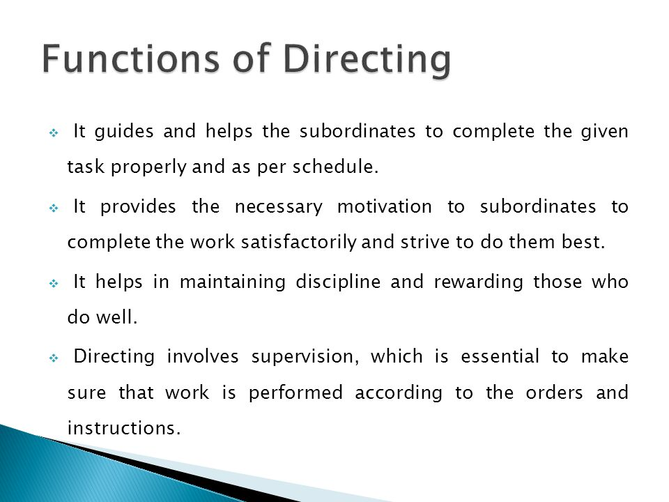 Functions of Directing