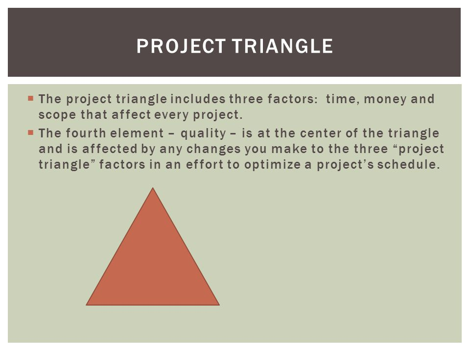 Project Triangle The project triangle includes three factors: time, money and scope that affect every project.