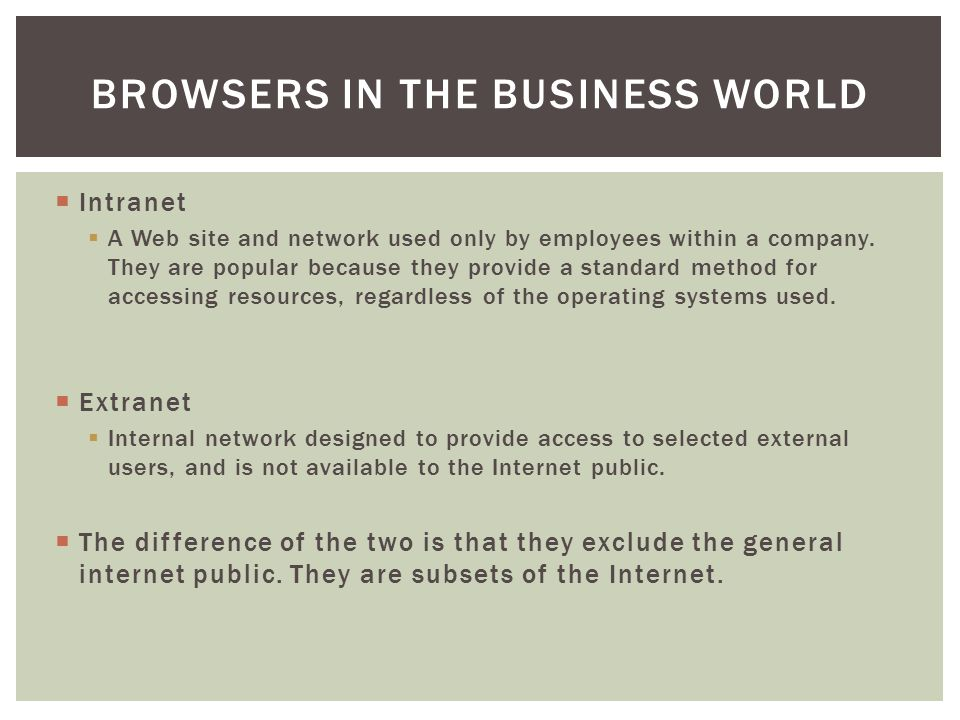 Browsers in the Business World