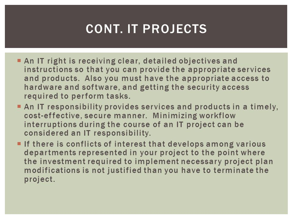 Cont. IT Projects