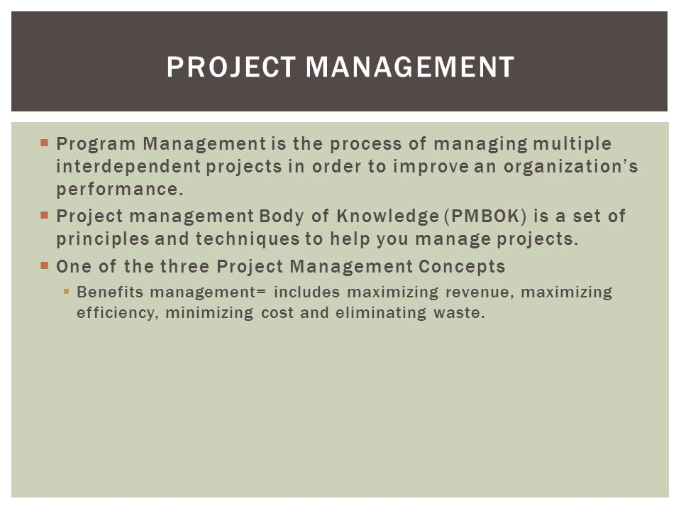 Project management Program Management is the process of managing multiple interdependent projects in order to improve an organization's performance.