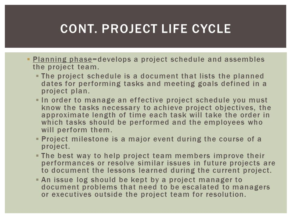 Cont. Project Life Cycle