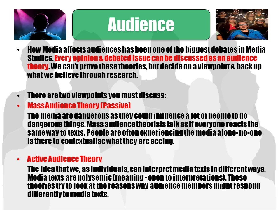 audiences respond differently to media texts Audiences play a role in interpreting media texts because each audience member brings to the media text a unique set of life experiences (age, gender, education, cultural upbringing, etc) which, when applied to the text-- or combined with the text-- create unique interpretations.