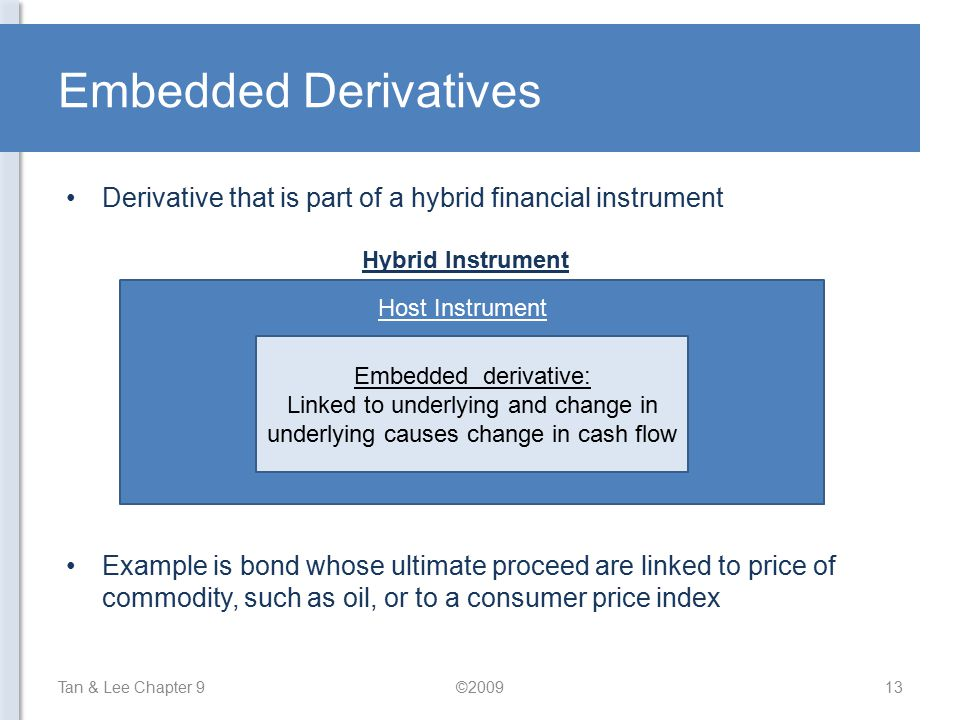 Embedded Derivatives Derivative that is part of a hybrid financial instrument. Host Instrument. Embedded derivative: