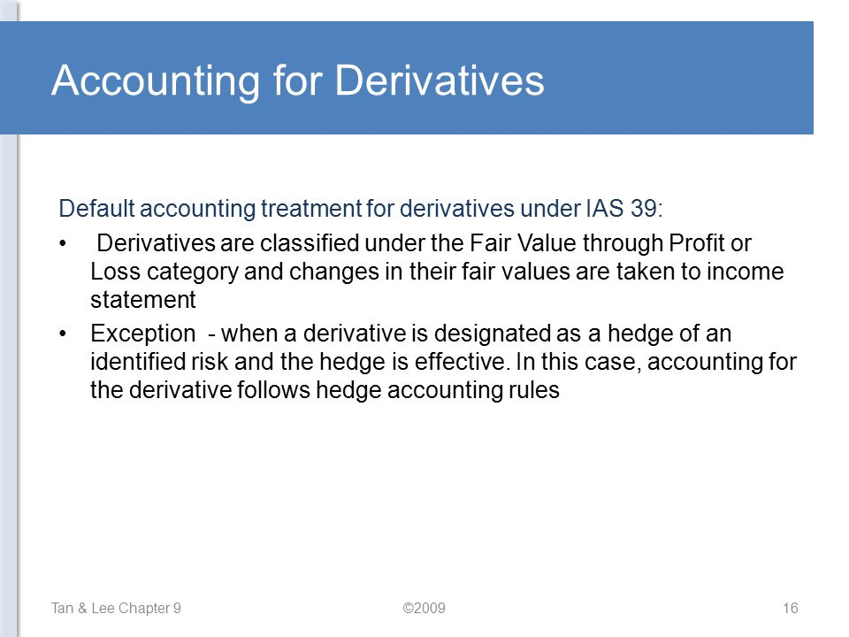 Accounting for Derivatives