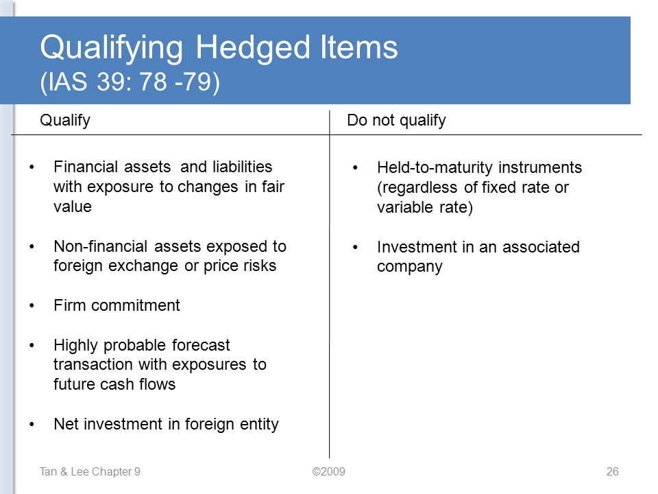 Qualifying Hedged Items (IAS 39: 78 -79)