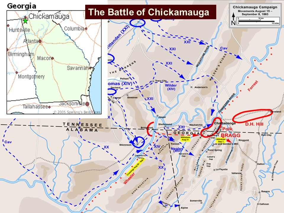 The American Civil War Ppt Download - Battle of chickamauga map