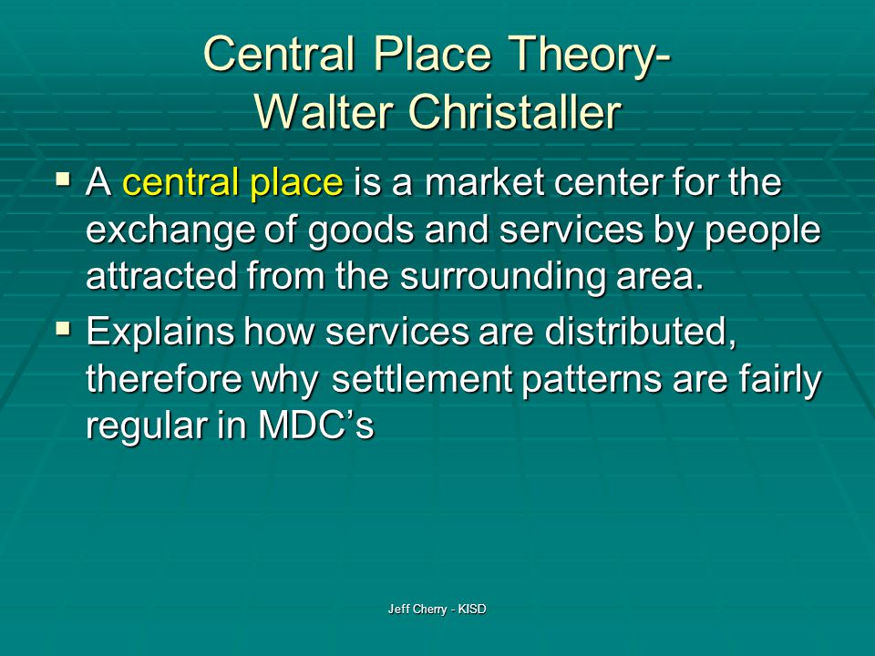 walter christaller central place theory pdf