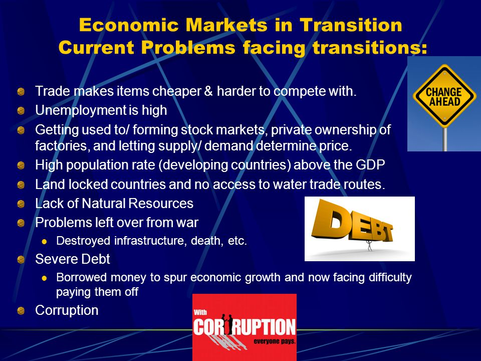 Economic Markets in Transition Current Problems facing transitions: