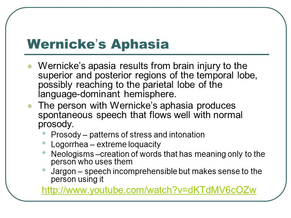 wernickes aphasia disorder essay Conduction aphasia, also called associative aphasia, is a relatively rare form of aphasia an acquired language disorder, it is characterized by intact auditory comprehension, fluent (yet paraphasic ) speech production, but poor speech repetition.