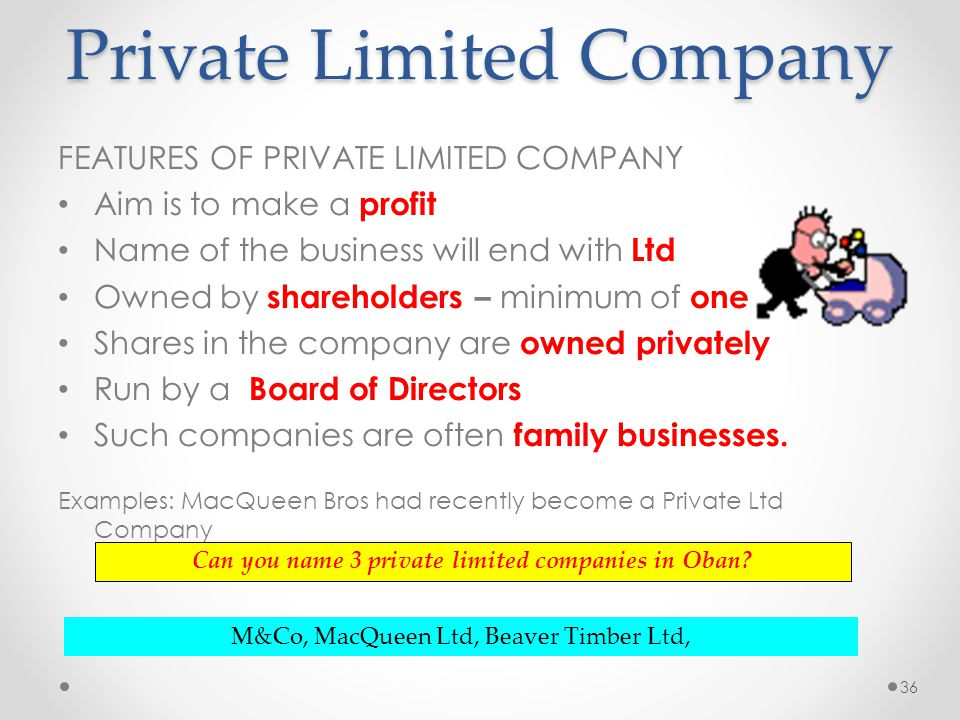 features of private company Characteristic features of private companies posted by admin on february 21, 2009 7:19 am a company which is held by private individuals is said to be a privat.