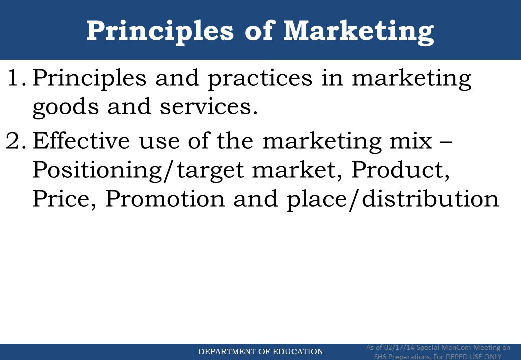 principles of marketing course 101 Bus 101: introduction to business (3) this course offers an overview of the  issues  bus 301: principles of marketing (3) this is a survey course covering  the.