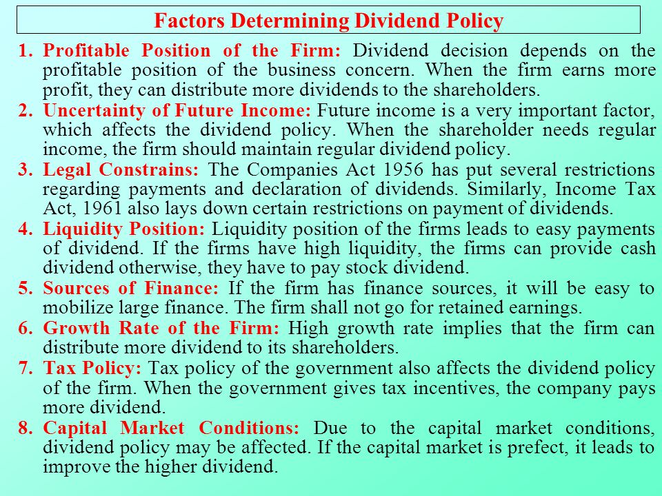 the factors affecting dividend payout policy Factors affecting dividend policy of a firm dividend policy   financial management bba   bba-bi management notes dividend is the distribution of profit or the portion of net income paid out to shareholders it is paid to shareholders in cash or stock for making investment and bearing risk.
