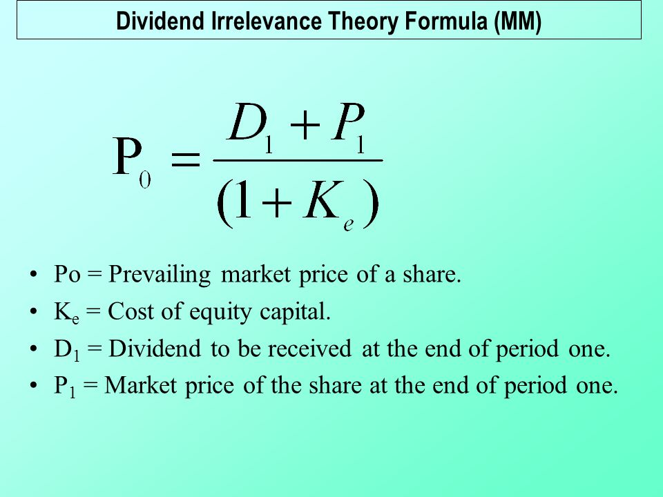 an example of dividend policy irrelevance Dividend policy: irrelevance and relevance one group of theorists believe that dividend policy is irrelevant to shareholders for example, microsoft (as.