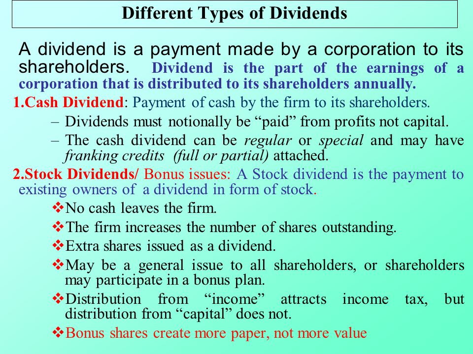 The Setting of Dividend Policy
