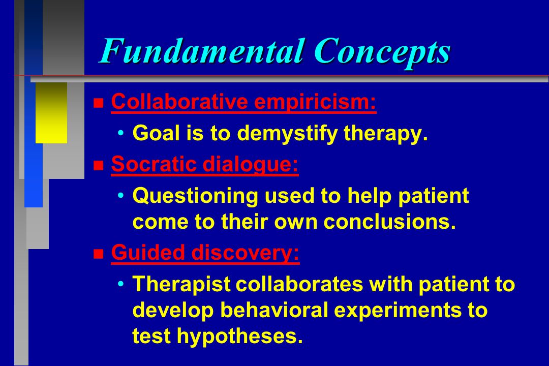 concepts of behavior therapy The techniques of behavior therapy have been applied to education, the workplace, consumer activities, and even sports, but behavior therapy in clinical settings is largely concerned with the assessment of mental health problems.
