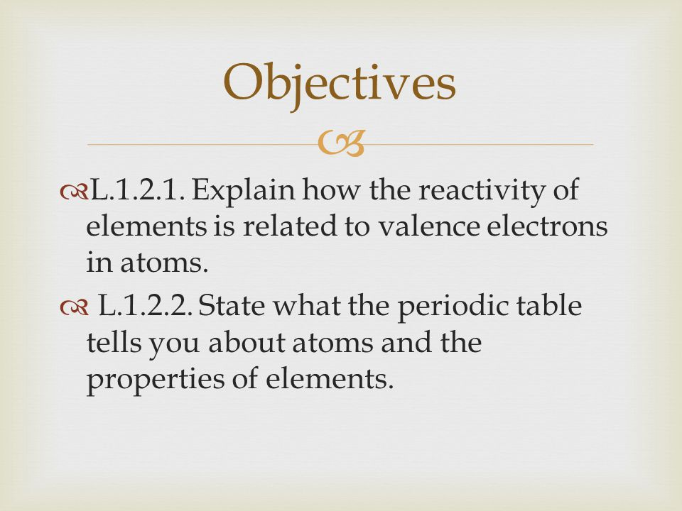 Periodic Table reactivity of atoms in the periodic table : Atoms, Bonding, and the Periodic Table - ppt download