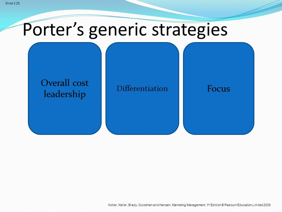 generic strategy ford Examples for michael porter's three generic strategies  must have a strategy for its direction  porter's five generic strategy model competitive advantage .
