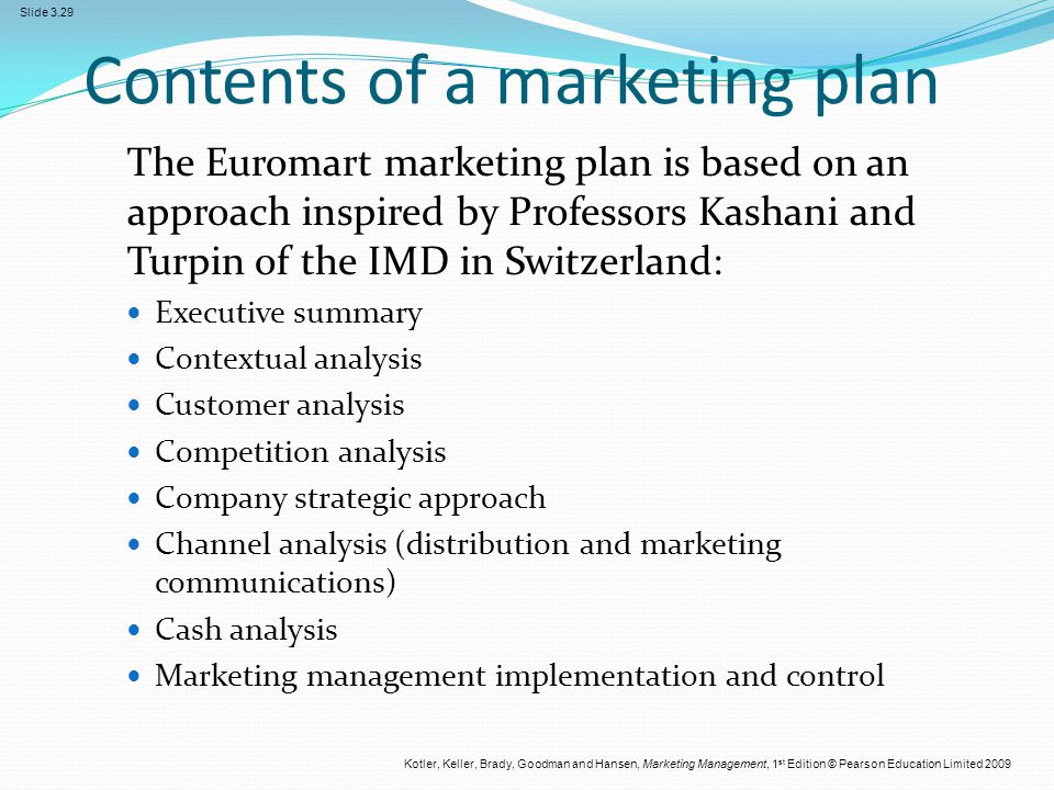 contents of a marketing plan