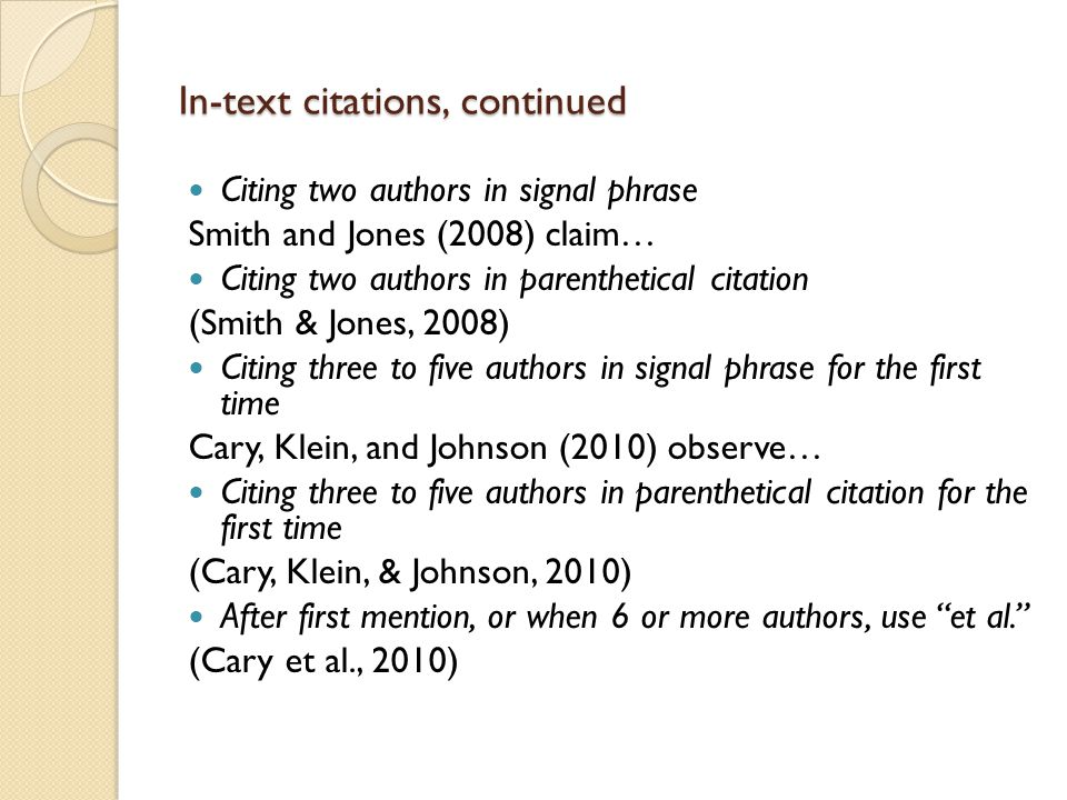 Introduction to apa format american psychological association in text citations continued ccuart Choice Image