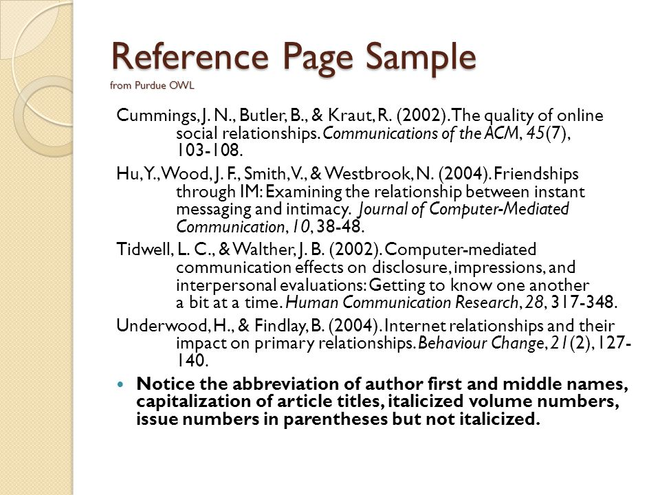 Introduction to apa format american psychological association 6 reference page sample from purdue owl ccuart Choice Image