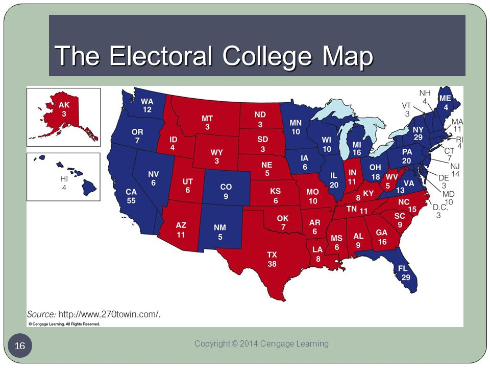the electoral college map with electoral vote number map
