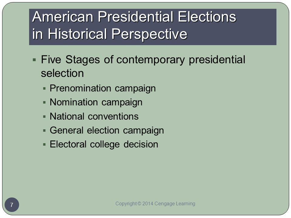American Presidential Elections in Historical Perspective