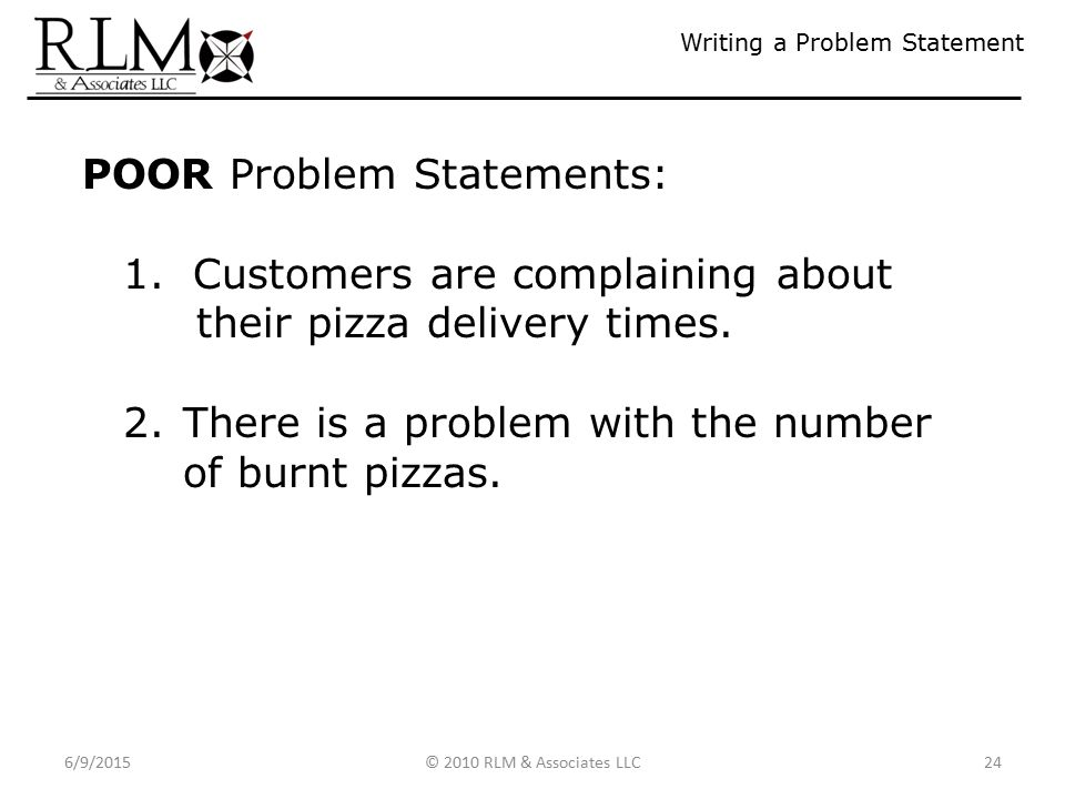 Writing My First Problem Statement