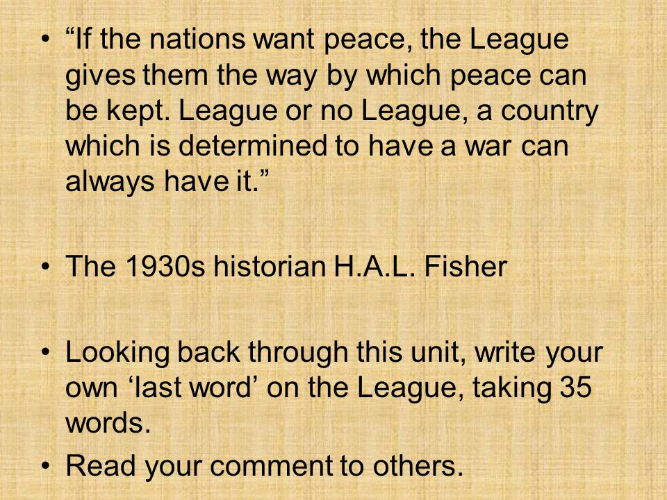 write about the league of nations