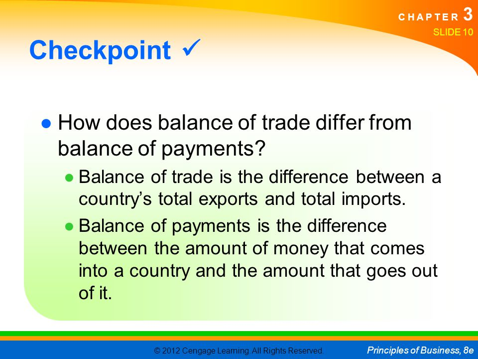 Checkpoint  How does balance of trade differ from balance of payments